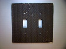 AmerTac Double Toggle Switch Plate Cover Brown Composite Wallplate Woven Texture