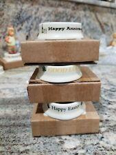 "3 Hummel Goebel Display Bases Stands Happy Easter Good Luck Happy Anniver 2"" Nib"