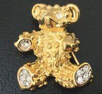 CLEAR RHINESTONE TEDDY BEAR BROOCH EYES PARIS BIJOUX GOLD TONE METAL TINY PIN