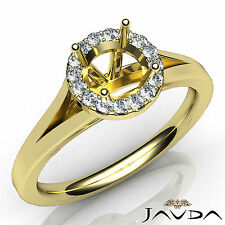 Setting 18k Yellow Gold Ring 0.2Ct Diamond Engagement Round Semi Mount Halo Pave