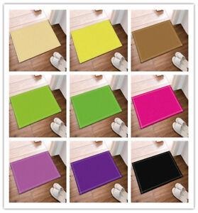 Pure Red Yellow Green Purple Color Non Slip Bathroom Door Mat Flannel Rug Carpet