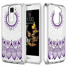 LG K7 / Tribute 5 Case, Purple Mandala Sun Totem Hybrid Soft TPU Clear Case