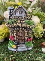 Dollhouse Fairy Garden Accessories Hobbit House in the Garden Flowers Chimney