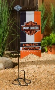 Harley Davidson Garden Flag 2 Sided Long Pennant XL Orange Black Motorcycles
