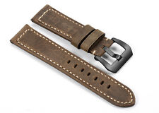 22mm Brown Genuine Asso Leather Watch Band Strap PVD Buckle For Panerai LG Watch