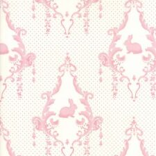 Lily & Will Revisited, Cream with Pink Rabbits, Bunny Hill, Moda Fabric,2800 23