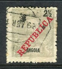PORTUGUESE ANGOLA;  1911 early REPUBLICA Optd. issue used 2.5r. value