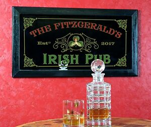 "Irish Pub Personalized Bar Mirror Sign Pub Office Man Cave Gift 13"" x 28"""