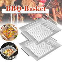 Grill Net Basket Heavy Duty Stainless Steel Vegetable Fish BBQ Grill Pan Large