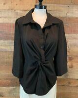 New~$44~L.N.V. Women XL Plus Black 3/4-Sleeve Polyester+ Button-Blouse Top Shirt
