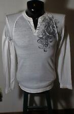 Men's GUESS Jeans White Long Sleeve V-Neck T-Shirt Size S