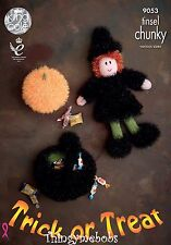 KING COLE 9053 HALLOWEEN WITCH/PUMPKIN/CAULDRON ORIGINAL TINSEL KNITTING PATTERN
