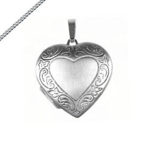 Medaillon mittelgroßes Herz mit Muster 925 Silber Amulett auch Kette und Gravur