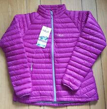 New Rab Microlight Jacket Womens L Insulated Down Pertex Lupine Gargoyle UK 14