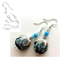 925 Sterling Silver Hook Lampwork Glass Beads Peacock Black Dangle Earrings #E19