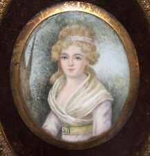 LADY'S PORTRAIT IN MINIATURE. OIL AND BRONZE. FRANCE. 19th CENTURY