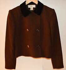 Wool Jacket Vintage Womens  Brown with Black Velvet Collar Size  4 P