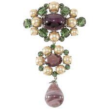 "Christian Dior Brooch Pin 4.25"" Purple & Green Glass Dangle Faux Pearl 1960 VTG"