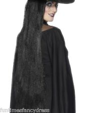 Halloween Extra Long Black Witch Evil Queen Wig Gothic Goth 91cm Fancy Dress