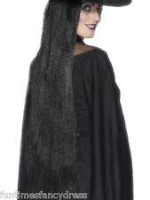 Halloween Extra Lunghe Nere strega regina del male Parrucca GOTHIC Goth 91cm FANCY DRESS