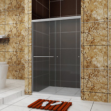 """SUNNY SHOWER Bypass Sliding Shower Doors 44-48""""W Frameless 1/4"""" Glass doors"""