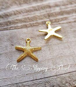 Starfish Charms Pendants Shiny Gold Nautical Charms Ocean Charms 10pcs 20mm