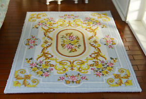 Dollhouse Aubusson Design Goden Brown Swirls Beautiful 1/12 Scale Gray Rug