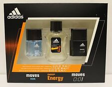 ADIDAS Gift Set Collecttion Men EDT Move Him Deep Energy Perfume Fragrance NIB