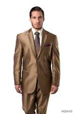 New Modern-Fit Shark-skin Gold Men's Suit
