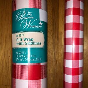 1 Roll The Pioneer Woman Gingham Christmas Wrapping Paper