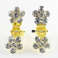 MINI Hair Claw Clip Rhinestone Crystal Hairpin Bridal Wedding Flower Gold 13