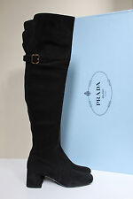 """New sz 8 / 38.5 Prada Black Suede Over the Knee Tall 2 1/2"""" Heel Boot Shoes"""