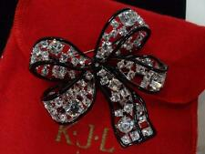KJL Kenneth Jay Lane Large RS Bow Brooch Pin w RED VELVET POUCH
