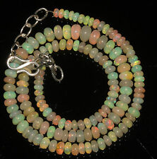 "54 Carat Natural Ethiopian Welo Fire Opal Genuine Necklace 3 to 6.5 mm 16"" Beads"