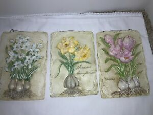 3 SLATE HAND PAINTED WALL PLAQUE RAISED-NARCISSUS, Paper Whites, Crocus
