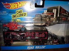 HOT WHEELS  ROAD ROLLER BLACK RAT ROD HAULER  +  RED BONE SHAKER