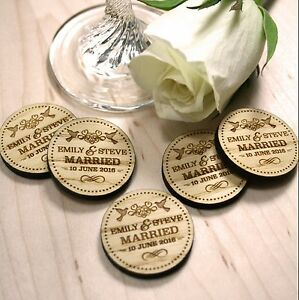 Personalised Rustic Wooden Married Charm Wedding Favours Table Confetti Keepsake