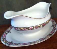 Johnson Brothers England Gold Green Yellow Scroll Band Pink Roses GRAVY BOAT