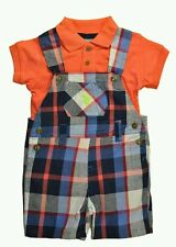 U.S. Polo Assn Boys Outfit Polo Shirt & Plaid Overall Set Size 6-9 Months