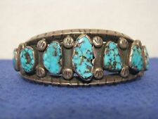 VINTAGE 1960's SW NEW MEXICO SILVER / BLUE TURQUOISE BRACELET WITH 7 NUGGETS
