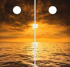 Lake Sunset .Cornhole Board Game Decal Wraps USA High Quality Image bag