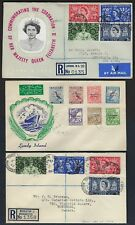 Uk Gb 1953 Three Fdc Coronation Covers Two Registered To Canada & Ny & Lundy Isl