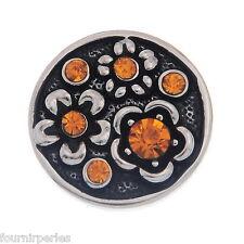 1 Bouton Pression Click Strass Fleur Gravé Pr Bracelet Personnalisé 20mm