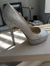 Jimmy Choo Satin Ivory Sparkle High Heel Shoe Uk36