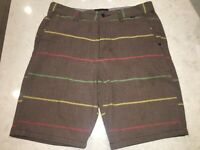 Hurley Men Size 32 Brown Shorts With Green Yellow Red Stripes Walk Skateboarding