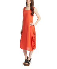 Midi Dress Size UK 12 Ladies Sleeveless Coral Orange Gathered Side #1187
