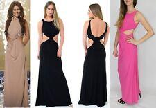 Para Mujer Vestido Maxi Twist Front cortar Cheryl celebridad señoras de largo sin mangas sexy