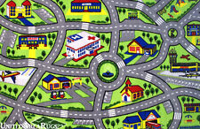 3x5 Area Rug  Kid's  Play  Road  Map Street   Driving Time Airport  3'3'x4'10