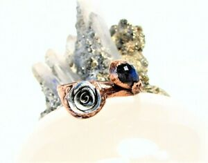 Antique Style Solid Copper Ring-Fine Silver Rose and Labradorite Stone-Size 8
