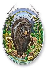 """AMIA STAINED GLASS SUNCATCHER 5.5"""" X 7"""" OVAL BLACK BEAR   41364"""